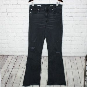 Gap Resolution Skinny Flare Black Jeans High Rise